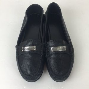 Coach Fredrica Black Pebble Leather Loafers 8